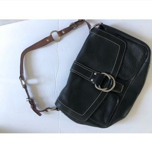 Vintage Coach Leather Black & Brown Shoulder Bag